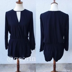 Express Black Long Sleeve Romper